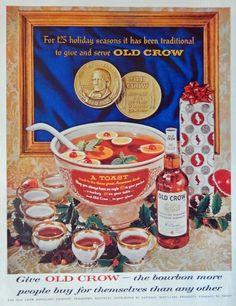 Old Crow Whiskey  60 s Vintage Print Ad   A Toast  Color Illustration  Original Life Magazine Art