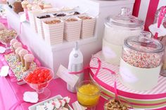 Toppings bar for Ice Cream ! How fun for any kind of baby shower, wedding shower or summer party