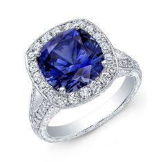 Sapphire and diamond halo ring - image shared by TheFutureMrsWhite