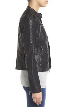 Free shipping and returns on Levi's® Quilt Detail Faux Leather Racer Jacket at Nordstrom.com. Quilted panels reinforce the racy motocross styling of a fitted band-collar jacket cut from soft and supple faux leather in your choice of classic black or chocolate brown.