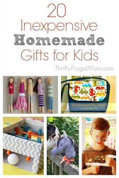 20 Inexpensive Homemade Gifts for Kids- an awesome collection of fun, easy to make gifts for kids.  Not only will they save you money, they are unique and sure to be loved and enjoyed!