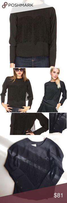 """(Final 💵) Pixie Market Black Fringe Party Shirt (This top is NEW & never been worn) Get some """"Ooh La La!"""" up in here because the Kate Fringe Top has arrived. It's perfect for going out or simply when you want to make style statement. It's chic black blouse with long fringe detail on a sweetheart bust line. Button closure down back. I recommend styling this party ready top with high waisted leather pants, platform creepers and major attitude.  - 100% polyester - Bust: 36""""/91cm - length…"""