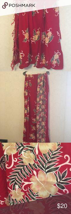 "Beautiful Sarong Beautiful Sarong. Vibrant colors. Red and yellow floral. Measurements 55"" x 40"". Lots of room. Tasseled edges. EUC Swim Sarongs"