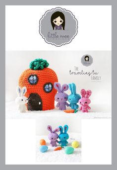 """Add a little fun to Easter Baskets this year with this adorable micro family of travelling rabbits"" - free crochet pattern (including carrot house) by Little Mee Creations."
