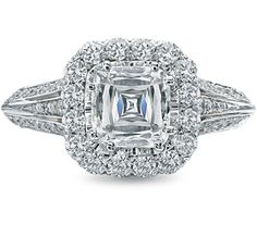 i can't stop obsessing over this ring. Ascher cut diamond ring with diamond halo.  DePrisco Jewelers Boston ~ www.deprisco.com