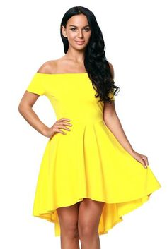 ffeeed706d Yellow Shoulder Off All The Rage Skater Fit and Flare Dress