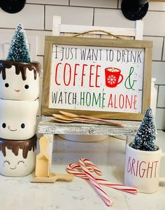 I just want to drink coffee and watch home alone / Christmas coffee/ home alone sign Home Alone Christmas, Christmas Coffee, Winter Christmas, Merry Christmas, Watch Home Alone, Wood Signs Home Decor, Coffee Bar Signs, Coffee Stands, Cute Signs