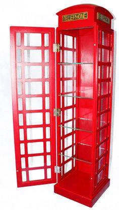 1 x Red Wooden Storage Cabinet DVD CD Tower Bookcase Book Rack Display TELEPHONE