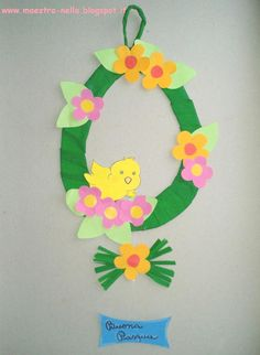maestra Nella: decorazione pasquale Bunny Crafts, Flower Crafts, Felt Crafts, Easter Crafts, Easter Art, Easter Eggs, Paper Crafts For Kids, Diy And Crafts, Easter Projects
