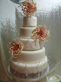 Flowers and Bling Wedding Cake