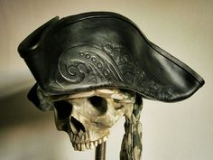 Pirate's Wife - Leather tricorn & bicorn pirate hats.
