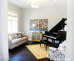 Piano room. Designed by Lindy Allen of Four Chairs Furniture. Built by Millhaven Homes. Photographed by Hiya Papaya Photography