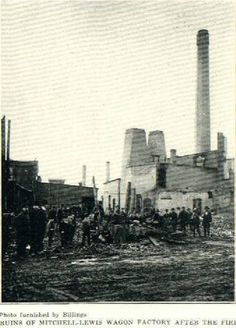 After math of the 1880 Mitchell & Lewes Wagon Factory Fire, Racine WI