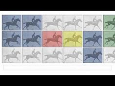 Eadweard Muybridge is known for his pioneering work on animal locomotion which used multiple cameras to capture motion. The Doodle based an an original sequence by Eadweard J. Muybridge. Looks in my eyes like an amazing piece of old fashiened pop art :-)