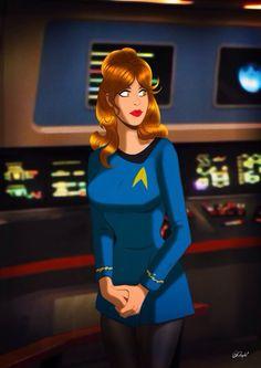Star Trek Pin-Up girl by Des Taylor Watch Star Trek, Star Trek Tv, Star Trek Ships, Star Wars Art, Star Trek Characters, Space Girl, Star Trek Universe, Uss Enterprise, Woman Drawing