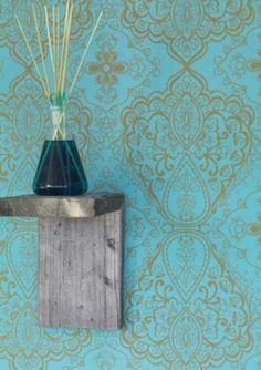 Tapete Marokko col.16 | Tapeten Neuheiten in den Farben gold | Grundton türkis