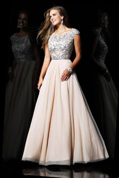 A-line Chiffon Scoop Natural Waist Floor-Length Zipper Cap sleeve Appliques Beading Prom Dress
