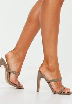 Put your best foot forward in a brand new pair of women's shoes from Missguided. Take your pick of heels, flats, sneakers and more! Heeled Sandals, Heeled Mules, Sexy Heels, High Heels, Stilettos, Stiletto Heels, Taupe Shoes, Beautiful Toes, Sheer Tights
