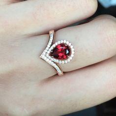 Teardrop Garnet Engagement Ring