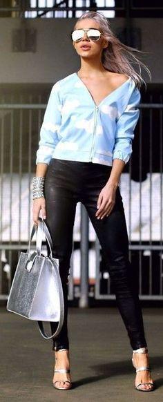 #spring #fashion | Light Blue and Black | Alina Ceusan                                                                             Source Maxi Shirt Dress, Blue Maxi, Klein Blue, Spring Fashion, Light Blue, Palette, Sporty, Chic, Freedom