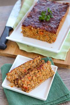 Buffalo Lentil Loaf - a healthy  tasty vegetarian meatloaf alternative!  Use flax egg instead of eggs for vegans