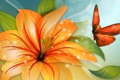 Tiger lily and butterfly tattoo idea- (#135669) - High Quality and Resolution Wallpapers on hqWallbase.com   orange flower and orange butterfly