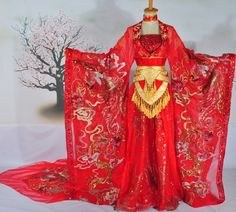 Princess Classic Auspicious Phoenix Wedding Dress Complete Set for Women Traditional Chinese Wedding, Traditional Fashion, Chinese Style, Traditional Dresses, Kimono Tradicional, Chinese Clothing, Chinese Dresses, Fantasy Dress, Ao Dai