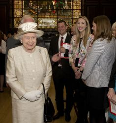 Queen Elizabeth II during a visit to the Journalists' Charity at the Stationers' Hall, 07 May 2014 in London, England