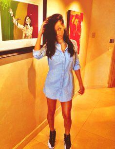 Rihanna.  Denim Mini Dress with Jordan XVII's.  SWAG