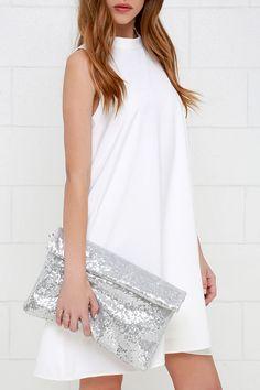 Glinty Pleasure Silver Sequin Clutch at Lulus.com!