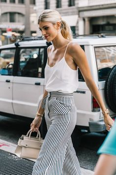 NYFW SS18 Street Style: White Top, Stripes, Red Lips @lucearow