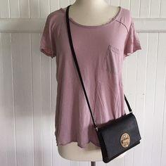"""Forever 21 Purple T-shirt Forever21 purple t-shirt with pocket. Cool hem details on front and back. 19.5"""" neck to bottom hem. Forever 21 Tops Tees - Short Sleeve"""