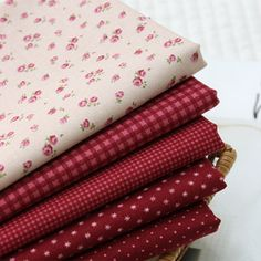 Jenny Red Wine Quilt Fabric Fat Quarter Bundle 5 by JamiesQuilting, $13.49