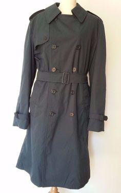 US NAVY M1637 Dark Blue Men's All- Weather Coat Zip Out Liner Belted Size 40 L
