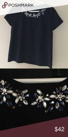 Navy blue embellished blouse Navy blue embellished blouse J. Crew Tops Blouses