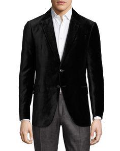 R-Line Textured Velvet Two-Button Sport Coat, Black