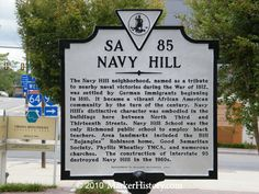 """The Navy Hill neighborhood, named in tribute to nearby naval victories during War of 1812, was settled by German immigrants beginning in 1810. It became a vibrant African American community by turn of the century. Navy Hill School was the only Richmond public school to employ black teachers. Area landmarks included the Bill """"Bojangles"""" Robinson home, Good Samaritan Society, Phyllis Wheatley YMCA,  numerous churches. In 1960s, construction of Interstate 95 destroyed Navy Hill. (SA-85) Good Samaritan Society, Virginia History, War Of 1812, Richmond Virginia, Good Ole, Public School, Arkansas, Black History, Schools"""