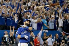 The Blue Jays' Jose Bautista tossed his bat toward the Rangers' dugout after hitting a three-run homer in the seventh inning Wednesday, Oct. Toronto advanced to the American League Championship Series for the first time since Toronto Blue Jays, Neymar, Kansas City, Baseball Toronto, World Business News, Blue Jays Game, American League, American Sports, Go Blue