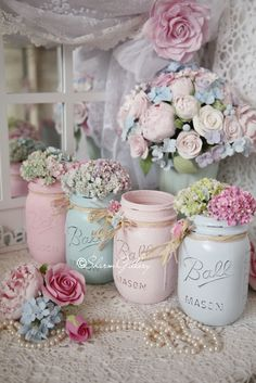 DIY Tips And Tricks for Painting Shabby Chic Mason Jars ! Idee zum Selbermachen…, DIY Suggestions And Methods for Portray Shabby Stylish Mason Jars ! Idee zum Selbermachen… DIY Suggestions And Methods for Portray Shabby Stylish Ma. Baños Shabby Chic, Cocina Shabby Chic, Estilo Shabby Chic, Shabby Chic Bedrooms, Shabby Chic Furniture, Shabby Cottage, Cottage Style, Shabby Chic Baby Shower, Chabby Chic