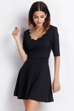 Essential  A-Line Dress with Scalloped Trim
