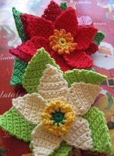 Tecendo Artes em Crochet: Flores para o natal!