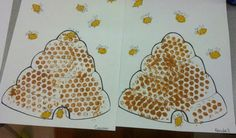 Painting with bubble wrap! Fingerprint Bees! Insect craft!
