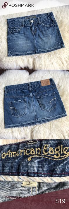 American Eagle Distressed Jean Denim Mini Skirt 4 Distressed cut off denim skirt! Super cute!!  American Eagle  Size - 4 100% Cotton  Approx Measurements: Waist - 31in Length - 12in American Eagle Outfitters Skirts Mini