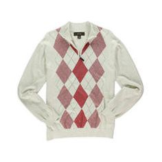 Tasso Elba White Red Zipper Top Sweater, Size Small