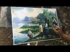 Watercolor Painting of fishing at Powai Lake without drawing on the spot by Prashant Sarkar. Process of watercolor painting step by step full length demonstr. Watercolor Video, Watercolor Tutorials, Painting Tutorials, Watercolour Painting, Step By Step Painting, Bob Ross, Painting Lessons, Learn To Paint, Watercolours