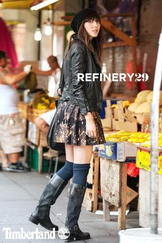 Rocker Chic in the Timberland Bethel Buckle Tall Boot. @Refinery29 (Photo credit: Marc Iantosca)
