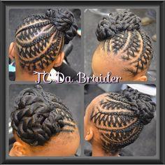 Braids for girls, girls braids, cornrows, updo, bun