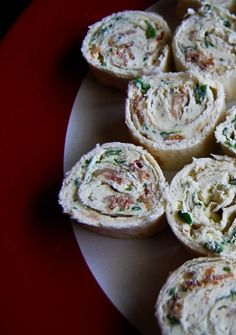 Bacon, Spinach, Chive and Cream   Cheese Roll Ups. This tasty appetizer   disappears quickly!