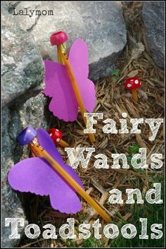 Cute Fairy Wands and Toadstools Craft for Kids. These are perfect for springtime, since they are made with beautiful butterflies and toadstools! A perfect springtime homeschool idea! Crafts To Do, Crafts For Kids, Children Crafts, Craft Activities For Kids, Craft Ideas, Spring Activities, Play Ideas, Learning Activities, Teaching Ideas