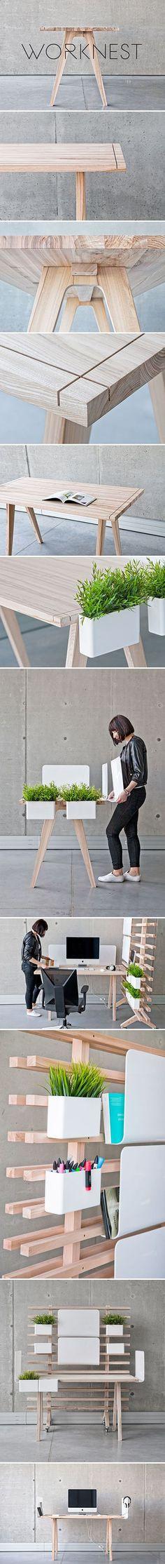 Worknest: handcrafted modular workplace, design from Wiktoria Lenart.   Handgemaakt modulaire werkplek. Wood desk, wood table,